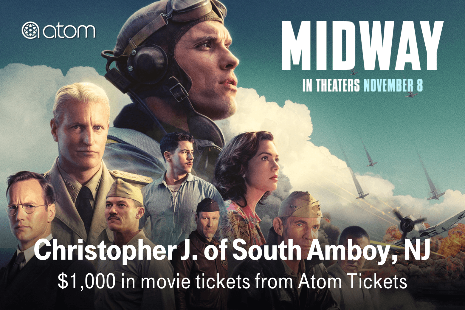 Atom. Midway. Christopher J. of South Amboy, NJ. $1,000 in movie tickets from Atom Tickets.