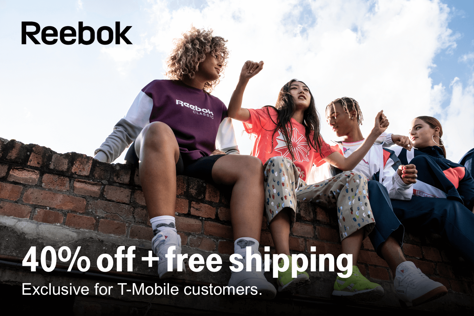 Reebok. 40% off +free shipping. Exclusive for T-Mobile customers.